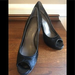 Open toe sexy black fir pumps!  Day to night!!